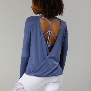 ONZIE V BACK LONG SLEEVE STRIKE BLUE TOP COTTON